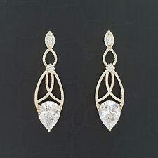 Elliptical Ear Gold Tone 925 Silver Cubic Zirconia Ellipse Drop Dangle Earrings