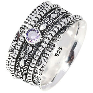 """Amethyst Quartz Wide Band Spinner Medatation Ethnic 925 Silver Jewelry Ring """"11"""""""