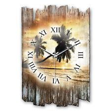 Sonnenuntergang Shabby Funk Wanduhr leise Funkuhr aus Holz * Kreative Feder