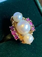 Beautiful Vintage 18k Yellow Gold Pearl And Ruby Ladies Ring