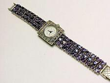 Sterling Silver Amethyst 30 Ct. & Marcassite Watch