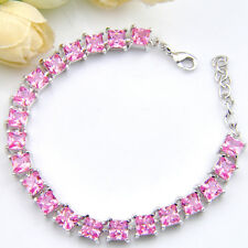 Gorgeous Wedding Gift Rectangle Princess Pink Topaz Gems Silver Charm Bracelets