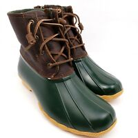 Sperry Womens Size 7.5 Brown Green Saltwater Rain Duck Boots STS90998F