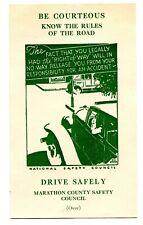 USA Wisconsin Marathon County Automobile Safety Card 1937 Injury & Death Graphic
