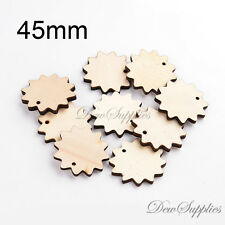 10 x 45mm flat flower wood Bead beads pendant natural unpainted laser cut