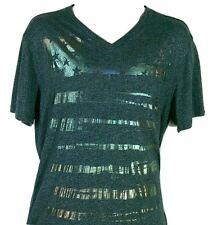MARC ECKO CUT & SEW Mens Sz M V-Neck T-Shirt, Charcoal Gray Shiny Stars/ Stripes
