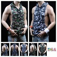 Men Bodybuilding Sleeveless Tank Top T-Shirt Fashion Camo Tee Muscle GYM Hoodie