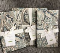 Pottery Barn Mackenna Paisley FULL/ Queen Duvet & 2 EURO Pillow Shams, Blue