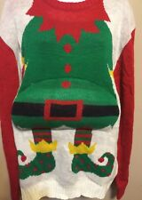Christmas Sweater Santa Belly elf Merry Christmas funny ugly cute size XXL