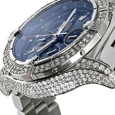 Breitling Super Avenger A13370 Diamond Case Blue Sticks Dial Luxury Men's Watch