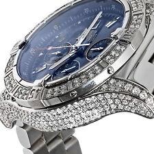 Breitling Super Avenger A13370 Diamond Case Blue Sticks Dial Luxury Men's Watch