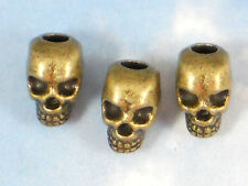 5 Skull Beads Bronze 12mm 3D 4mm Hole Top Drilled fits Paracord LG Chains #P084