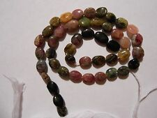 "14"" strand NATURAL MULTICOLORED TOURMALINE oval 6mm Wide STONE BEADS"
