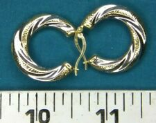 1 Pair 14kt Yellow and White Gold Hoops with Diamond Cuts #5148
