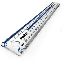 """Helix 12""""/30cm Clear Plastic Ruler with Blue Strip – Shatter-Resistant – Single"""