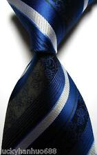 New Classic Stripe Florals Blue White JACQUARD WOVEN 100% Silk Men's Tie Necktie