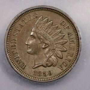 1859-P 1859 Indian Cent 1c ICG AU55 Details really nice look
