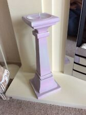 """WOODEN PILLAR CANDLE HOLDER WITH A DISTRESSED PINK / PLUM FINISH 12.5"""" TALL #W/E"""