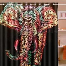 "Elephant Graffiti Waterproof Polyester Printed Shower Curtain 66""x72"" w/12 Hooks"
