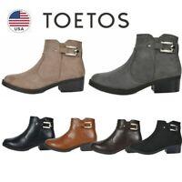 TOETOS Women Block Low Heel Ankle Boots Booties Zip Up Winter Shoes Size
