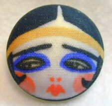 "1920s Flapper Girl Button Hand Printed Fabric ""Triste """