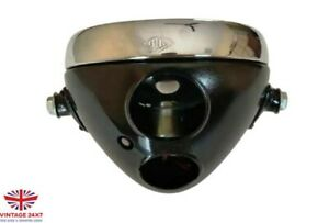 HEADLAMP BLACK 6 & 1/2 INCH MILLER TYPE 2 HOLE FLAT GLASS  Fit For