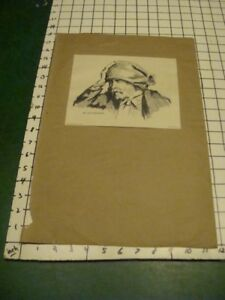 original drawing: March 25, 1913 signed S. BARNES -- man with hand on hat