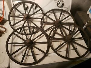 "Set of 4 Antique 14"" Wood Spoke Wagon Baby Buggy Wheels"