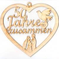 Jubiläum 50 Jahre zusammen, Goldene Hochzeit, Taube, Eheringe Holz 21cm