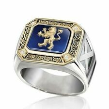 Men White Sapphire Party Ring Gift Size 7 New listing Fashion Lion Two Tone 925 Silver Rings