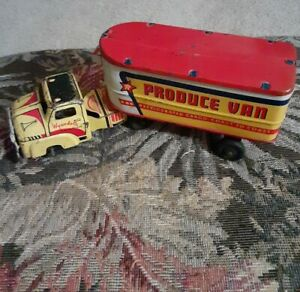 Rare Wyandotte Tin Truck And Trailer Produce Van