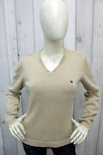 TOMMY HILFIGER Donna Taglia L Maglione Cotone Sweater Pullover Maglietta Pull