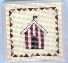 "Textile Heritage Cross Stitch Coaster Kit ""Beach Huts (Red Stripe)"""