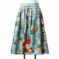 19 Patterns Women Vintage 1950s Midi Pinup Swing Pleated Skirt DressღPlus Size