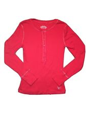 Girl's Justice knit long sleeve school top shirt  L 14 red slim Henley