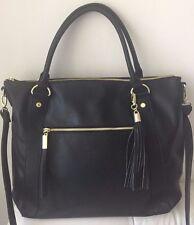 Steve Madden B Marlow Black Satchel Handbag Purse Crossbody W Tassel