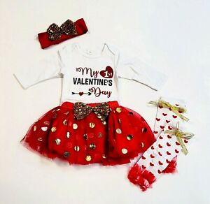 My First Valentine's Day Baby Outfit W/ Headband & Leg Warmers Glitter 12 Months