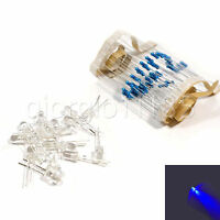 US Stock 100pcs Flash LED 5mm Blue Water Clear Ultra Bright With Free Resistors