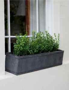 Vintage Style Grey Zinc Metal Plants Herbs Flowers Planter Window Box