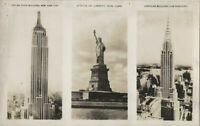 New York 1940s Empire State Building Statue Liberty Chrysler Building Postcard