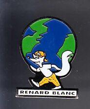 RARE PINS PIN'S .. ANIMAL RENARD FOX MAPPEMONDE BLANC MARQUE ~BB