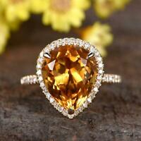 3Ct Pear Cut Citrine & Halo Diamond Wedding Engagement Ring 14k Rose Gold Finish