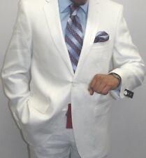 Men's White Linen suit By Renoir  Soft Tropical Casual Dress Light Weight 601