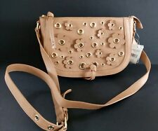 Womens Designer Handbag NINE WEST EVELINA DK CAMEL Large Purse Saddle bag