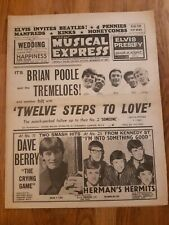 NME newspaper August 28th 1964 Brian Poole and the tremeloes cover