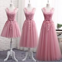 Blush Bridesmaid Dresses Applique Tulle Formal Prom Party Evening Dress Size4-18