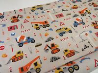 Children's Builder Digger Print Cotton Fabric Curtain Upholstery Quilting Craft