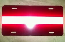 Thin red line fire fighter support black reflective red license plate car tag