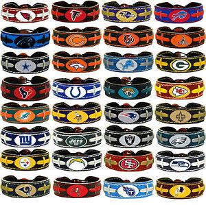 leather football bracelet team color NFL PICK YOUR TEAM gamewear