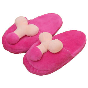 NOVELTY BREAST PENIS SEXY DESIGN WOMEN MEN SLIPPERS SOFT SKID-PROOF HOME SHOES